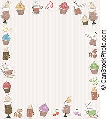 simboli, caffè, cupcakes, cornice