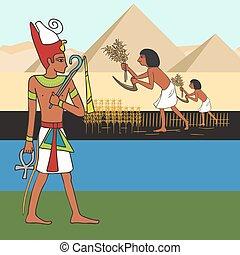 simboli, cartone animato, civilizzazione antica, egiziano