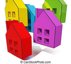 simboli, casa, mostra, vendita, case