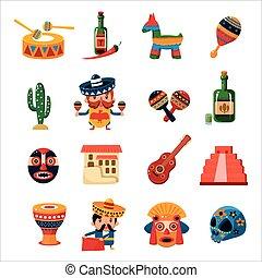 simboli, collezione, messicano, tradizionale