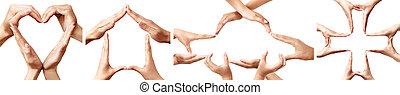simboli, concetti, rappresentare, assicurazione, mano