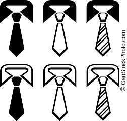 simboli, cravatta, vettore, nero