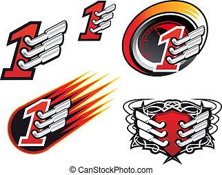simboli, da corsa, icone