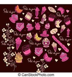 simboli, di, paris., culinario, pattern.