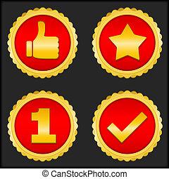 simboli, dorato, differente, medaglie