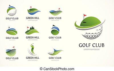 simboli, elementi, bastone da golf, icone, collezione, logotipo