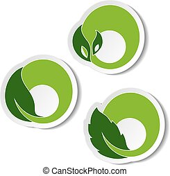simboli, elementi, naturale, natura, foglia, adesivo, vettore, fondo, bianco, plant., circolare