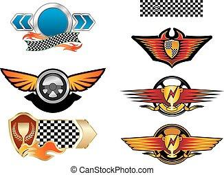 simboli, emblemi, da corsa, sport