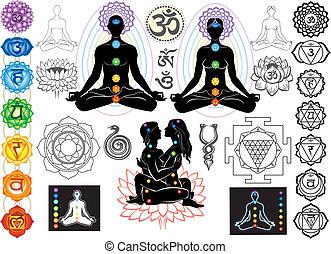 simboli, esoterico, chakras