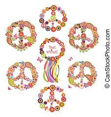 simboli, fiori, pace, collezione
