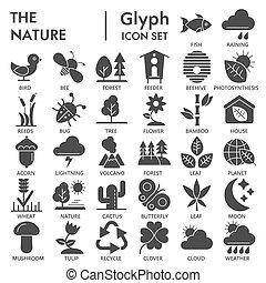simboli, fondo, segni, logotipo, glyph, set, isolato, ambiente, conservazione, bianco, disegni, 10., natura, pictograms, icona, pacchetto, solido, collezione, eps, firmato, vettore, illustrazioni