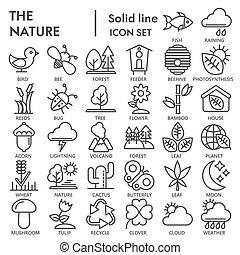 simboli, fondo, segni, logotipo, set, isolato, ambiente, conservazione, bianco, disegni, 10., lineare, natura, pictograms, linea, icona, pacchetto, collezione, eps, firmato, vettore, illustrazioni