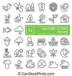 simboli, fondo, segni, logotipo, set, isolato, ambiente, conservazione, bianco, disegni, 10., lineare, natura, pictograms, linea, icona, pacchetto, collezione, eps, vettore, magro, illustrazioni