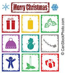simboli, francobolli, natale