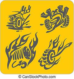simboli, fuoristrada, vettore, -, set