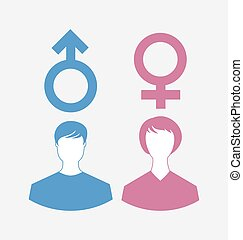 simboli, genere, maschio, icone, femmina