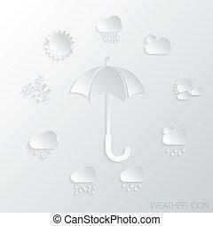 simboli, icona, ombrello carta, tempo