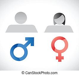 simboli, maschio, disegno, femmina, illustrazione