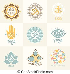 simboli, meditazione, set, yoga