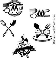 simboli, menu, embellishments, ristorante