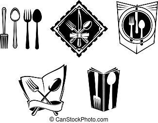 simboli, menu, ristorante, icone