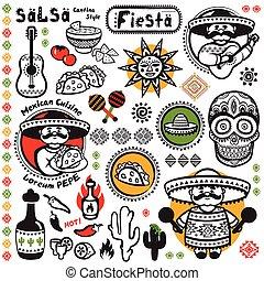 simboli, messicano, vettore, set