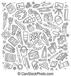 simboli, mestiere, vettore, arte, oggetti