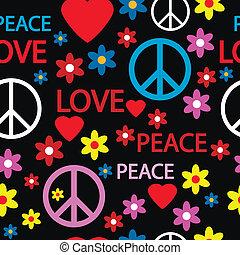 simboli, modello, hippie, seamless