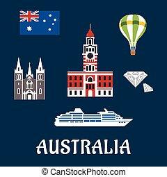 simboli, nazionale, australiano, icone