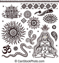 simboli, ornamentale, set, indiano, elementi