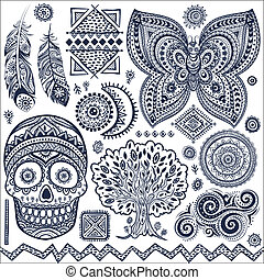 simboli, ornamentale, tribale, set, elementi