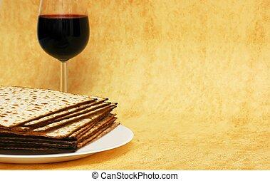 simboli, passover, vino, -, matzot