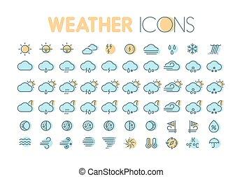 simboli, previsione, tempo, elements., icons., widgets., collezione