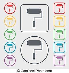 simboli, quadrato, frame., attrezzo, simbolo., segno, bottoni, vernice, vettore, icon., pittura, rotondo, rullo