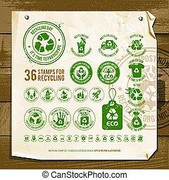 simboli, riciclaggio, carta, textured