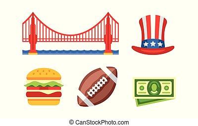 simboli, sam, dorato, nazionale, football, illustrazione, americano, vettore, zio, hamburger, fondo, cancello, palla bianca, ponte, cappello