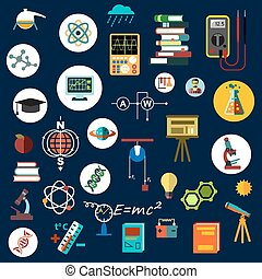 simboli, scienza, fisica, apparecchiatura, appartamento