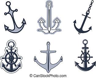 simboli, set, ancorare