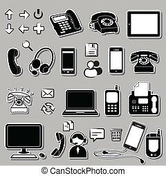 simboli, set, elettronico