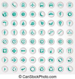 simboli, set, icone