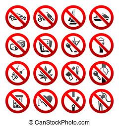 simboli, set, proibito, icone