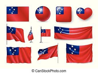simboli, set, samoa, realistico, bandiere, bandiere, icona