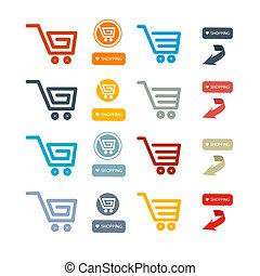 simboli, set, shopping, icone fotoricettore, cesto, carrello
