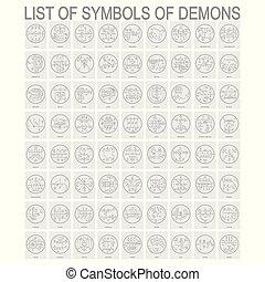 simboli, set, vettore, demoni