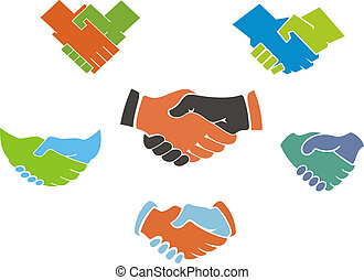simboli, stretta di mano, icone affari