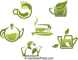 simboli, tè, verde, icone