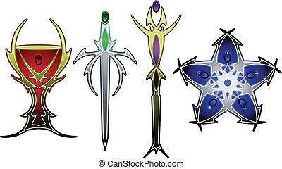 simboli, tarocco, colorare
