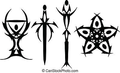 simboli, tarocco, tatuaggio