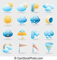 simboli, tempo, set, previsione, icone