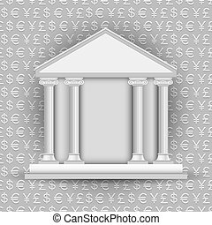simboli, valuta, banca, fondo, icona